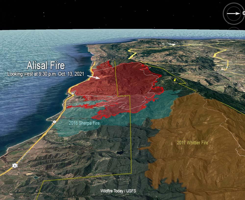 Alisal Fire map, 9:30 p.m. PDT Oct. 13, 2021