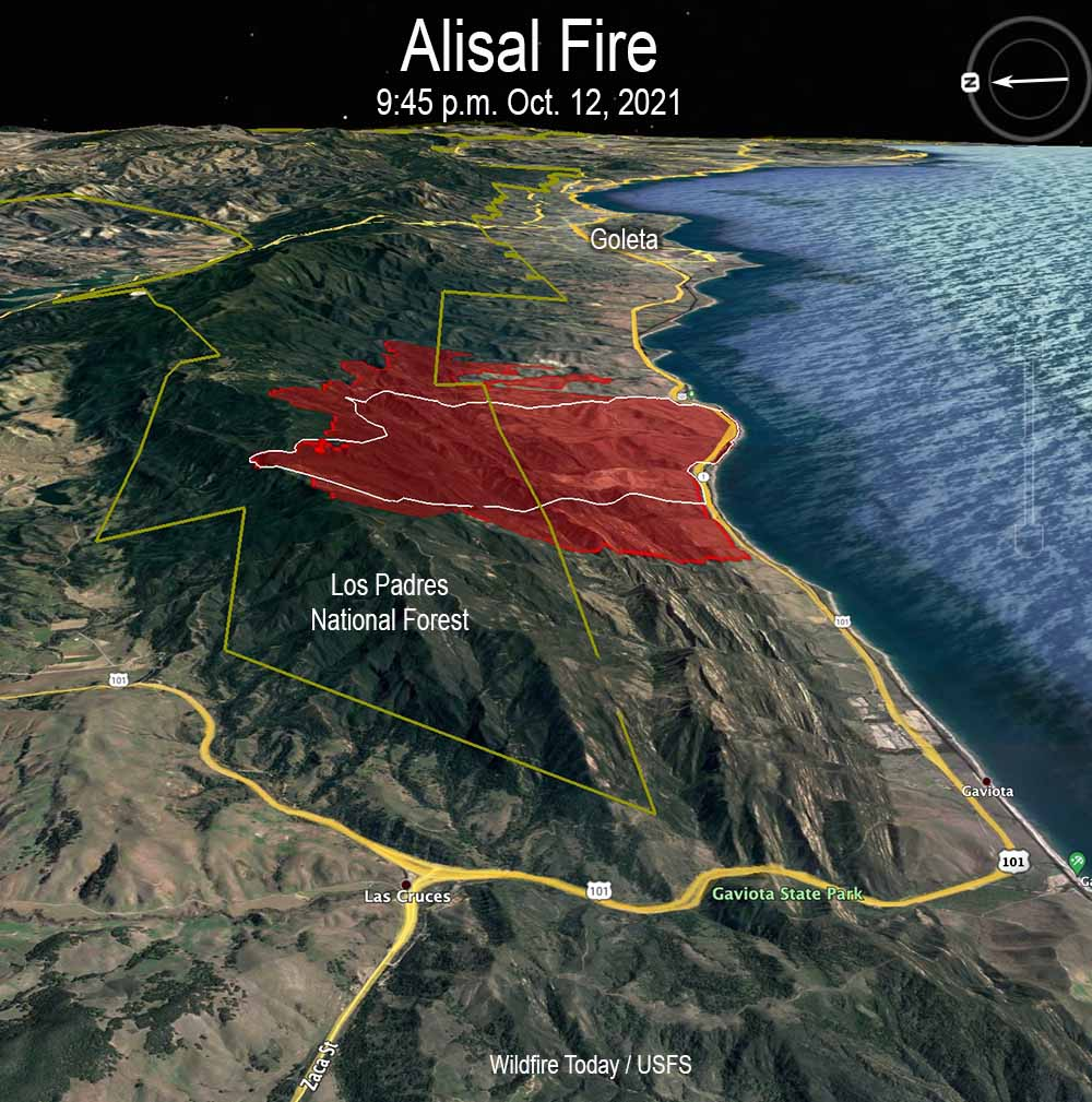 Alisal Fire map, 9:45 p.m. Oct. 12, 2021.