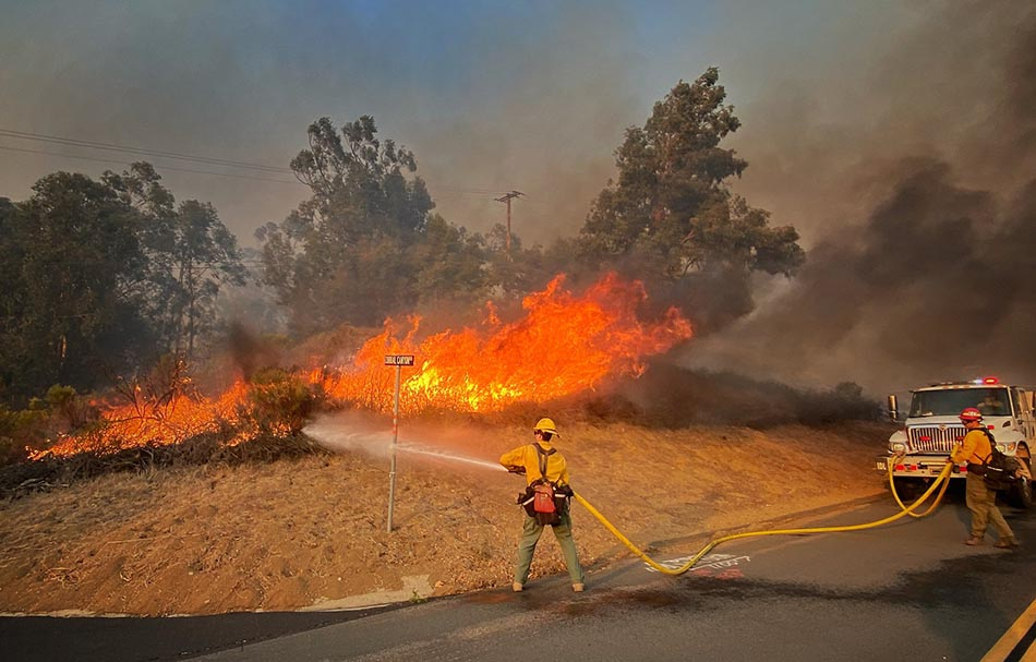 Firefighters on the Alisal Fire